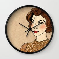 dale cooper Wall Clocks featuring TWIN PEAKS Audrey Horne Loves Dale Cooper by Lindsey Caneso