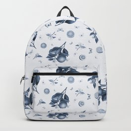 Porcelain Blue Butterflies and Citrus Backpack