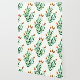 Abstract Green Plant With Orange Buds Wallpaper