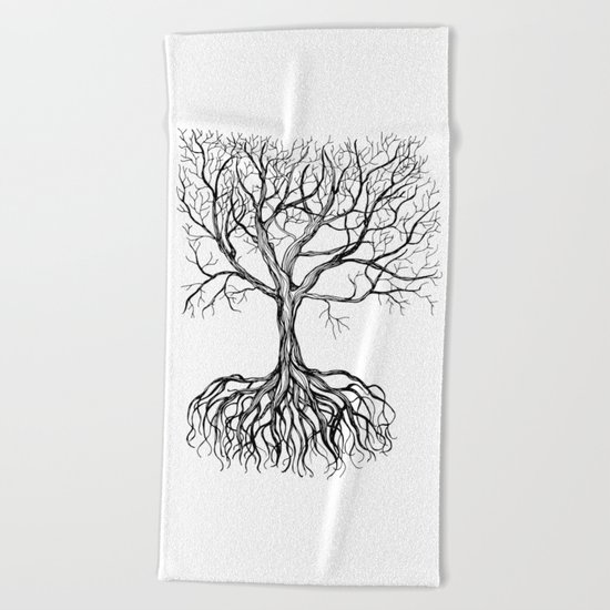 Bare tree with root Beach Towel