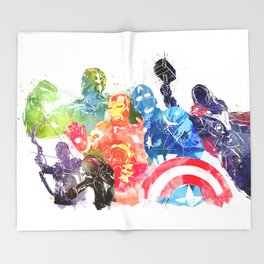 Iconic Comic Book Super Heroes ft. Iron Man  Throw Blanket