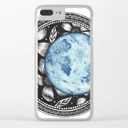 Blue Moon Flower Mandala Clear iPhone Case
