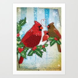 Seasons Cardinals Greetings Art Print