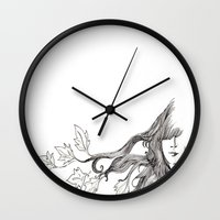 wind Wall Clocks featuring Wind by Ilariabp.art