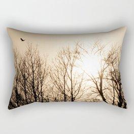 Bird Soaring Over Aspens Rectangular Pillow