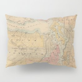 Vintage Map of The Puget Sound (1891) Pillow Sham