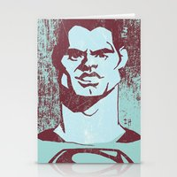 man of steel Stationery Cards featuring THE MAN OF STEEL by nachodraws