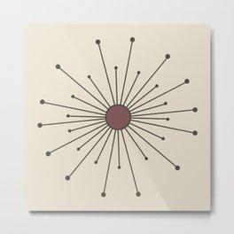 Mid Century Modern Simple Sputnik Starburst Metal Print
