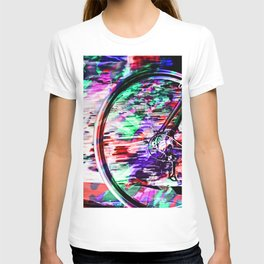 bicycle wheel with colorful abstract background in green red and purple T-shirt