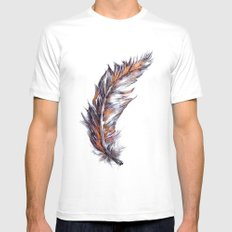 Feather // Illustration Mens Fitted Tee MEDIUM White
