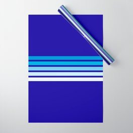 Retro Stripes on Blue Wrapping Paper