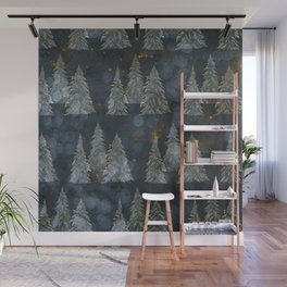 Fairy Pine Trees Golden Winter Christmas Lights Gold And Indigo Blue Landscape Decor Wall Mural