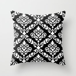 Prima Damask Pattern White on Black Throw Pillow