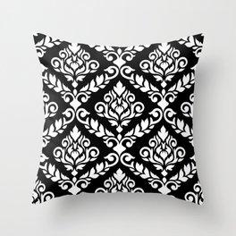 Prima Damask Pattern White on Black Throw Pillow