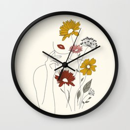 Colorful Thoughts Minimal Line Art Woman with Flowers III Wall Clock