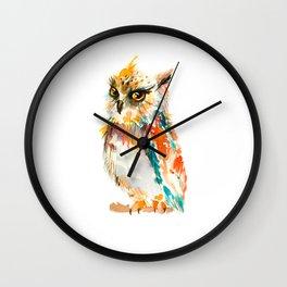 Watercolor Rainbow Owl Wall Clock