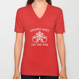 Spiders Meet On The Web Unisex V-Neck