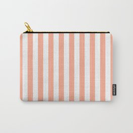 Large Peach and White Vertical Cabana Tent Stripes Carry-All Pouch
