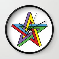 pentagram Wall Clocks featuring Impossible Pentagram by Stephen Kemmy Graphic Designer