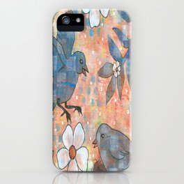 Whimiscal Birds in Nest iPhone Case
