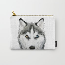 Siberian Husky dog with two eye color Dog illustration original painting print Carry-All Pouch