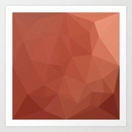 Burnt Sienna Orange Abstract Low Polygon Background Art Print