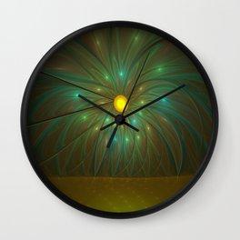 Fantasy Flower Fractal, Abstract And Luminous Wall Clock