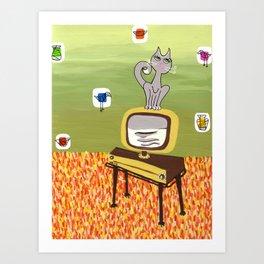 Retro TV and Cat Art Print