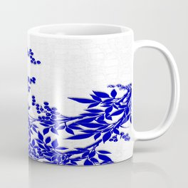 BLUE AND WHITE  TOILE LEAF Coffee Mug