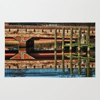 pagan Area & Throw Rugs featuring Pagan River Bridge by Anthony M. Davis