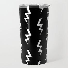 Bolts lightening bolt pattern black and white minimal cute patterned gifts Travel Mug