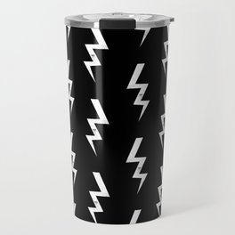 Bolts lightening bolt pattern black and white minimal cute patterned gifts Travel Mug