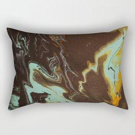 Fluid Art Acrylic Painting, Pour 3 - Black, Orange & Turquoise Blended Color Rectangular Pillow