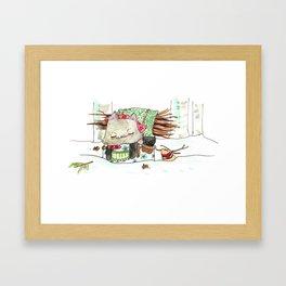 Baba Mouse Snow Walk Framed Art Print