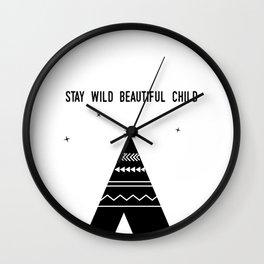 Stay Wild Beautiful Child Wall Clock