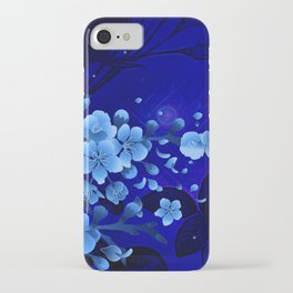 Cherry blossom, blue colors iPhone Case