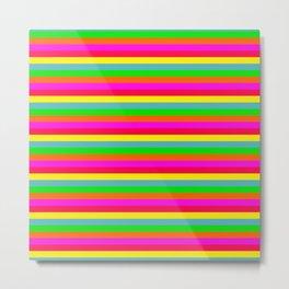 Small Neon Hawaiian Horizontal Rainbow Cabana Stripes Metal Print