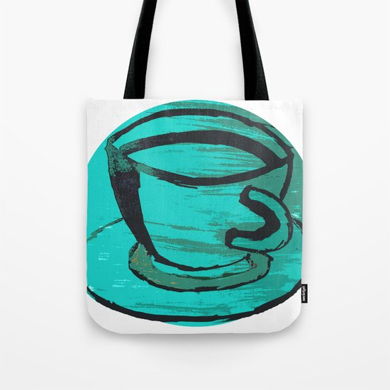 tea cup in green Tote Bag