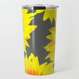 Large Sunflowers On Dark Grey Background #decor #society6 #buyart Travel Mug