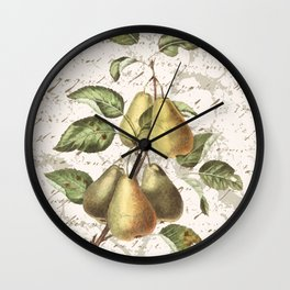 Vintage Botanical Pear with Distressed Script Digital Collage Wall Clock