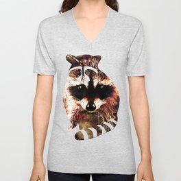 raccoon watercolor splatters sepia Unisex V-Neck