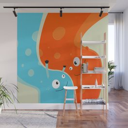 Hugging Cute Cartoon Characters Wall Mural
