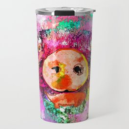 Pig Watercolor Grunge Travel Mug