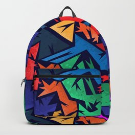 Abstract urban backdrop with curved geomtry seamless pattern and grunge spots in street styl Backpack