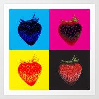 pop art strawberries Art Print
