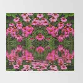 FUCHSIA-PINK ECHINACEA WATER GARDEN Throw Blanket