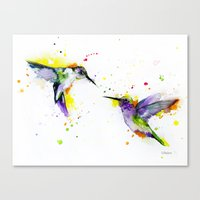 hummingbird Canvas Prints featuring Hummingbird  by Slaveika Aladjova