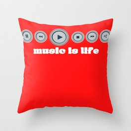 Music Is Life Play Pause Record CD Player Gift Throw Pillow