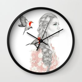 Girl with red robins Wall Clock