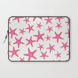 Summer pink neon watercolor gold starfish pattern Laptop Sleeve